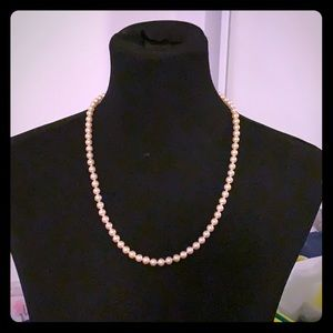 Sterling silver clasp faux pearl necklace